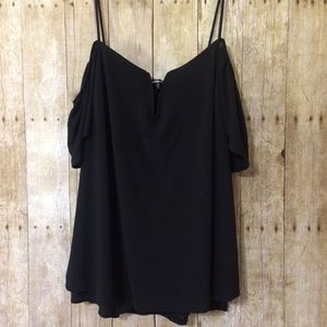 Charlotte Russe 2X cold shoulder strappy blouse